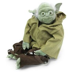 yoda plush backpack, so adorable, his arms drape over your shoulders & the backpack part is his back