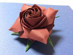 達人折りのバラの折り紙 10 Only one origami rose 10