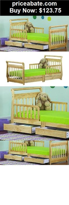 Kids-Furniture: Toddler Bed with Storage Drawers Wooden Natural Sleigh Kids Bedroom Furniture  - BUY IT NOW ONLY $123.75
