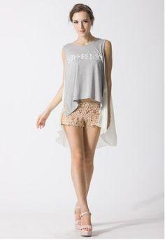 Floral Crochet Shorts in Peach $39.90