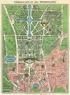 Amazing s Leconte Map of Paris w Monuments and Map of Versailles