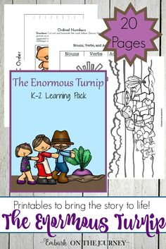 Here's a fun collection of The Enormous Turnip hands-on activities and a fun new printable for the crowd! Hands On Activities, Educational Activities, Learning Activities, Homeschool Kindergarten, Homeschool Curriculum, Preschool Farm, Homeschooling, Nouns And Verbs, Early Learning