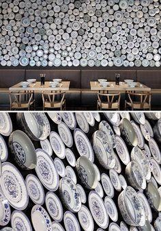 Mass of blue and white plates as wall decor, Tallerkenvegg Deco Restaurant, Restaurant Design, Restaurant Trends, Commercial Design, Commercial Interiors, Interior And Exterior, Interior Design, Hospitality Design, Cafe Design