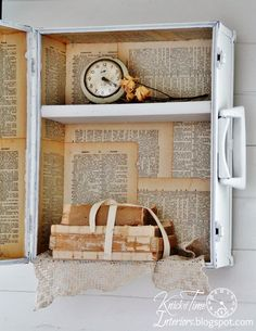 Repurposed Trunk into Wall Cabinet with Dictionary Pages and Framed Mirror by Knick of Time