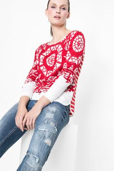 """Desigual's """"Igas"""" sweater has a sophisticated embroidered design and will add a little WOW factor to any outfit!"""