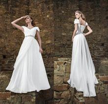 $96 vestidos de playa Cheap Simple white Beach Wedding dresses 2015 A-line V-neck Beaded Lace Up casamento Wedding Dress under $100(China (Mainland))