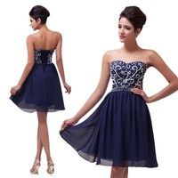 Wish | Grace Karin Sexy Beaded and Sequins Shining Short Prom Dresses Navy Blue Red Green Black Evening Dress