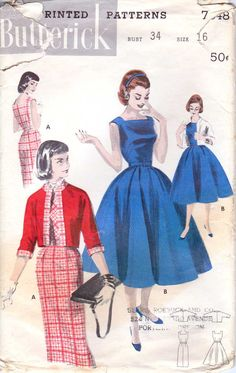 50's Butterick dress pattern from retromonkeys on etsy