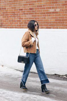 Bell Bottomed Girls  Updated on Mar 16, 2015 |  blue wide leg H&M jeans, camel suede vintage jacket, black love Rebecca Minkoff bag