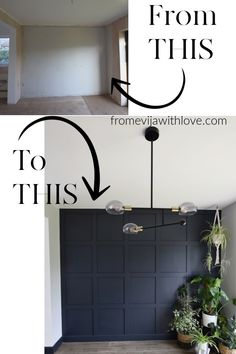 Create a beautiful statement wall using mdf board and adhesive, easy step by step tutorial for grid square panel wall, using Farrow & Ball Railings wall DIY Statement Panel Wall Farrow & Ball Ikea Skadis, Ikea Hack, Accent Wall Bedroom, Accent Walls In Living Room, Accent Wall In Bathroom, Feature Wall Living Room, Living Room Panelling, Bathroom Small, Bathroom Ideas