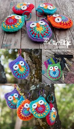 Owl key chains with free pattern, ook nederlandse vertaling.LOVE this free crochet pattern! I'm made a small stash of these crochet owl keychains for handy thank you gifts :-) You can…crochet baby mittens Crochet Baby Owls Pattern Free Video Tutori Yarn Projects, Knitting Projects, Crochet Projects, Sewing Projects, Owl Patterns, Knitting Patterns, Crochet Patterns, Crochet Stitches, Crochet Designs