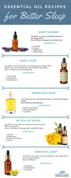 The Best Essential Oil Sleep Recipes (and how to use them) 5 easy aromatherapy blend recipes to help you fall asleep naturally and quickly. #NaturalInsomniaCures