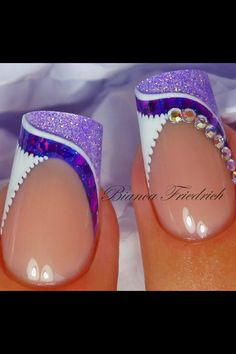 Shimmery Purple and White French Nails With Rhinestones.Shimmery Purple and White French Nails With Rhinestones. Nail Tip Designs, Pretty Nail Designs, Pretty Nail Art, Beautiful Nail Art, Cool Nail Art, Nails Design, Sparkle Nails, Fancy Nails, Trendy Nails