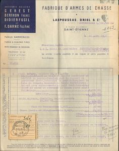 42 SAINT-ETIENNE FACTURE LASPOUSSAS DRIOL FUSIL DE CHASSE ROTARY 1948