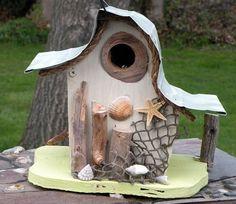 Nautical birdhouse, beach art, functional birdhouse, garden art in color options by adventureoriginals on Etsy