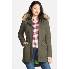 Sam Edelman Twill Pleat Skirt Parka with Faux Fur Trim Hood ($90) ❤ liked on Polyvore featuring outerwear, coats, ivy green, fur-lined coats, parka coat, green parka coat, green parka and green coat