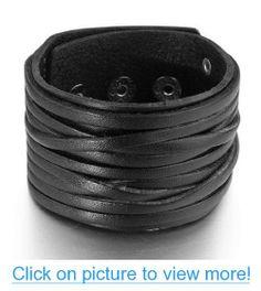 JBlue Jewelry Men's Large Alloy Leather Bracelet Bangle Black Rock (with Gift Bag)