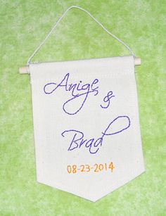 Personalised Wedding Gift embroidered mini banner by ArtandAroma, $24.00