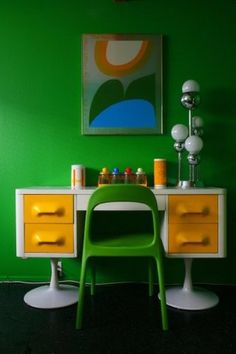 Eclectic home office. Work space area. Colorful space