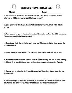 This is a quick worksheet that has real-world word problems involving elapsed time. Helps students see the relevance of knowing how to figure out how much time has passed. Can be used as a quick assessment or checkpoint also.
