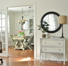 Cottage living room with pretty vintage table