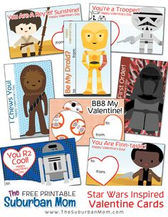 Printable Star Wars Valentines - 8 characters from The Force Awakens. Pair these with glow sticks for a non-candy Valentine!