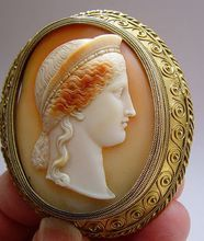 Museum quality carved cameo of Hera in heavy gold frame