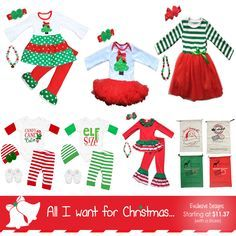 Hot *NEW* All I Want For Christmas Exclusive Outfits! Scarf sets, tutus, santa delivery bags, and onesie pant sets for boys & girls! Available in Newborn to size 10/1. Get your holiday shopping done today...