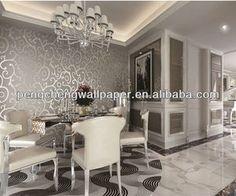 AuBergewohnlich Lastest Design Decorative Modern Silver Metallic Wallpaper Wallcovering,  View Silver Metallic Wallpaper Wallcovering, PENGCHENG