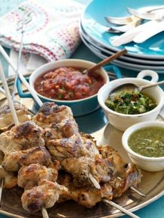 Grilled Chicken Thighs with Spicy Brazilian Sauces