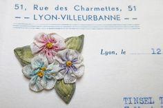 Vintage Antique French Rayon Lingerie 3 Rosebuds Ribbonwork