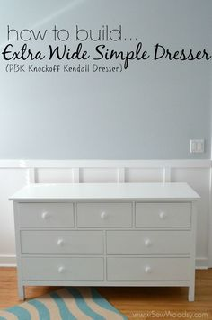 How to Build an Extra Wide Simple Dresser (knockoff PBK Kendall Dresser for 1/3 the price) via SewWoodsy.com