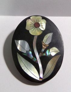 VTG Pin Brooch Abalone Shell & MOP Inlay Flower On Black Background LEE SANDS  #Unbranded