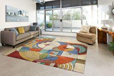 Custom hand tufted wool rug inspired by a Frank Lloyd Wright Design