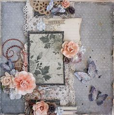 Premade Shabby Chic 12x12  Scrapbook Layout door LittleScrapShop