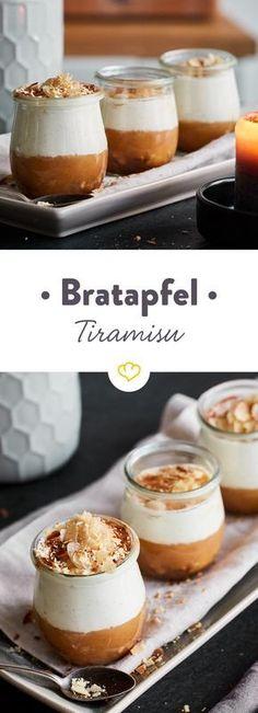Schicht für Schicht zum Apfelglück: Löffel dich durch knuspriges Mandelkrokant, cremige Mascarponecreme, fruchtigen Bratapfel und aromatisches Spekulatius.