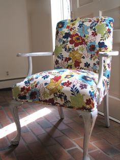 I have a similar chair to be reupholstered. I need to find some good fabric for it!