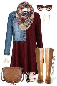 Plus Size Fall Swing Dress Outfit - Plus Size Fashion - Plus Size Outfit Idea - alexawebb.com #alexawebb