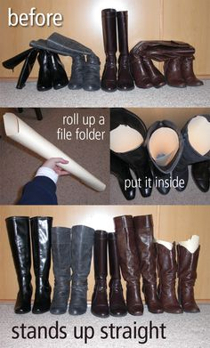 Make your boots stand up straight with just a file folder. I can't believe I didn't think of this until today. I use wrapping paper but like the file folder idea! Boot Organization, Organizing Ideas, Organization Station, Bedroom Organization, Organising, Organizar Closet, Ideas Para Organizar, Ideias Diy, Home Hacks
