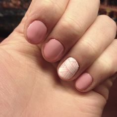 Pink and white geometric nails