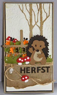My Cardcreations: Herfst - Kaart met egeltje, mand met blaadjes en paddestoelen.