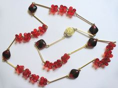 Vintage Halsschmuck - Kette rot gold 70er Jahre Fashion Kult - ein Designerstück…