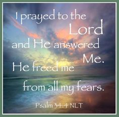 Freedom from our fears. How awesome! Fear has torment. Why, oh why, do we not pray and receive His comfort and freedom?
