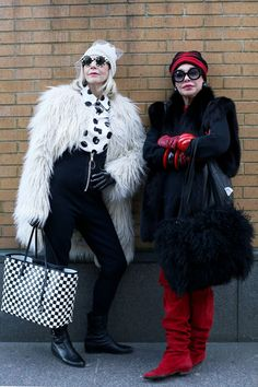 Jennifer Dolan (left) and Lynn Dell after lunch at shopping at Off Broadway - ADVANCED STYLE