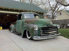 Green Slammed GMC Truck