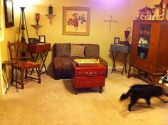 Living room redo I did using old suitcases as tables and a loveseat I build and upholstered