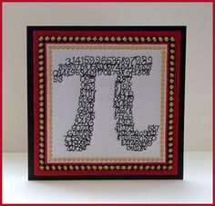 Machine embroidered, pieces of Pi, fabric art card, greeting card, padded glow in the dark fabric, mathematician, black card,  6in x 6in. by CushionRock on Etsy