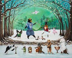 JAHNA VASHTI - The Waltz of Winter 11x14 print Holiday art The door #JahnaVashti