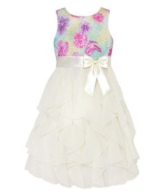 Look what I found on #zulily! Blue & Purple Floral Ruffle Dress - Infant, Toddler & Girls #zulilyfinds