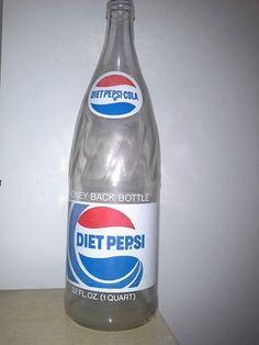 Vintage Diet Pepsi Cola 32 oz glass swirl top by SavvyVintageFinds